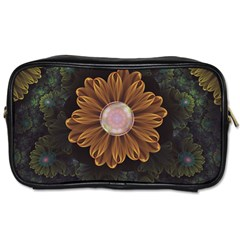 Abloom In Autumn Leaves With Faded Fractal Flowers Toiletries Bags 2 Side by beautifulfractals