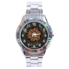 Abloom In Autumn Leaves With Faded Fractal Flowers Stainless Steel Analogue Watch by jayaprime