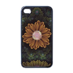 Abloom In Autumn Leaves With Faded Fractal Flowers Apple Iphone 4 Case (black) by jayaprime