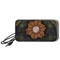 Abloom In Autumn Leaves With Faded Fractal Flowers Portable Speaker by jayaprime
