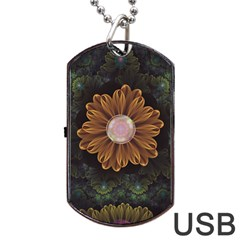 Abloom In Autumn Leaves With Faded Fractal Flowers Dog Tag Usb Flash (one Side) by beautifulfractals