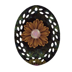 Abloom In Autumn Leaves With Faded Fractal Flowers Oval Filigree Ornament (two Sides) by jayaprime