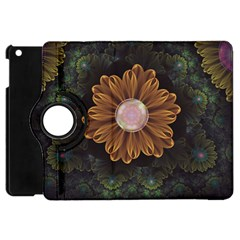 Abloom In Autumn Leaves With Faded Fractal Flowers Apple Ipad Mini Flip 360 Case by beautifulfractals