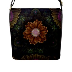 Abloom In Autumn Leaves With Faded Fractal Flowers Flap Messenger Bag (l)  by jayaprime