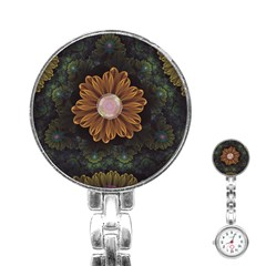 Abloom In Autumn Leaves With Faded Fractal Flowers Stainless Steel Nurses Watch by jayaprime