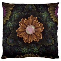 Abloom In Autumn Leaves With Faded Fractal Flowers Large Flano Cushion Case (two Sides) by jayaprime
