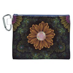 Abloom In Autumn Leaves With Faded Fractal Flowers Canvas Cosmetic Bag (xxl) by beautifulfractals