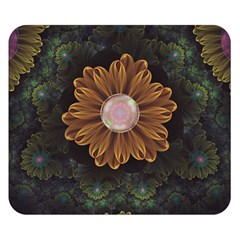Abloom In Autumn Leaves With Faded Fractal Flowers Double Sided Flano Blanket (small)  by jayaprime
