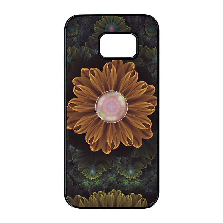 Abloom in Autumn Leaves with Faded Fractal Flowers Samsung Galaxy S7 edge Black Seamless Case