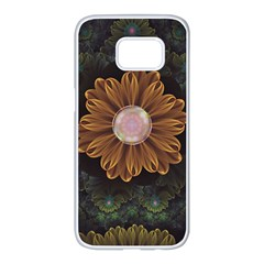 Abloom In Autumn Leaves With Faded Fractal Flowers Samsung Galaxy S7 Edge White Seamless Case by jayaprime