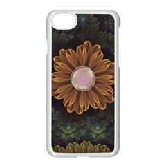 Abloom In Autumn Leaves With Faded Fractal Flowers Apple Iphone 8 Seamless Case (white) by beautifulfractals