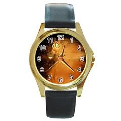 The Funny, Speed Giraffe Round Gold Metal Watch by FantasyWorld7