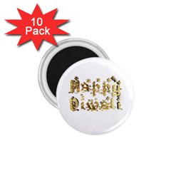 Happy Diwali Gold Golden Stars Star Festival Of Lights Deepavali Typography 1 75  Magnets (10 Pack)  by yoursparklingshop