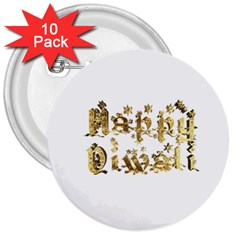 Happy Diwali Gold Golden Stars Star Festival Of Lights Deepavali Typography 3  Buttons (10 Pack)  by yoursparklingshop