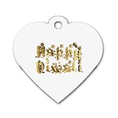 Happy Diwali Gold Golden Stars Star Festival Of Lights Deepavali Typography Dog Tag Heart (one Side) by yoursparklingshop