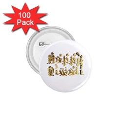 Happy Diwali Gold Golden Stars Star Festival Of Lights Deepavali Typography 1 75  Buttons (100 Pack)  by yoursparklingshop