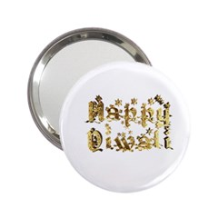 Happy Diwali Gold Golden Stars Star Festival Of Lights Deepavali Typography 2 25  Handbag Mirrors by yoursparklingshop
