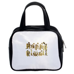 Happy Diwali Gold Golden Stars Star Festival Of Lights Deepavali Typography Classic Handbags (2 Sides) by yoursparklingshop