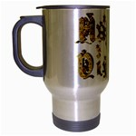 Happy Diwali Gold Golden Stars Star Festival Of Lights Deepavali Typography Travel Mug (Silver Gray) Left