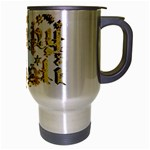 Happy Diwali Gold Golden Stars Star Festival Of Lights Deepavali Typography Travel Mug (Silver Gray) Right
