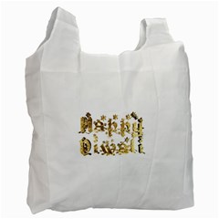 Happy Diwali Gold Golden Stars Star Festival Of Lights Deepavali Typography Recycle Bag (two Side)  by yoursparklingshop
