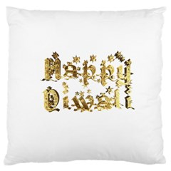 Happy Diwali Gold Golden Stars Star Festival Of Lights Deepavali Typography Large Cushion Case (two Sides) by yoursparklingshop