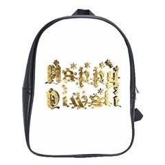 Happy Diwali Gold Golden Stars Star Festival Of Lights Deepavali Typography School Bag (xl) by yoursparklingshop