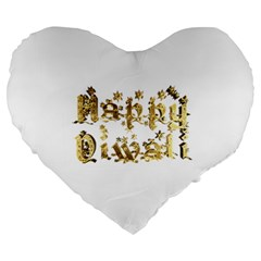 Happy Diwali Gold Golden Stars Star Festival Of Lights Deepavali Typography Large 19  Premium Heart Shape Cushions by yoursparklingshop