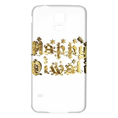 Happy Diwali Gold Golden Stars Star Festival Of Lights Deepavali Typography Samsung Galaxy S5 Back Case (white) by yoursparklingshop