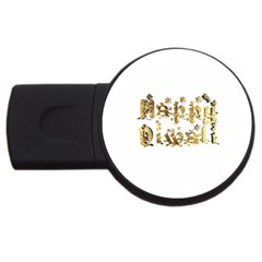Happy Diwali Gold Golden Stars Star Festival Of Lights Deepavali Typography Usb Flash Drive Round (4 Gb) by yoursparklingshop