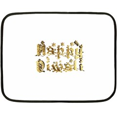 Happy Diwali Gold Golden Stars Star Festival Of Lights Deepavali Typography Double Sided Fleece Blanket (mini)  by yoursparklingshop