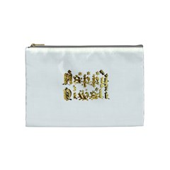Happy Diwali Gold Golden Stars Star Festival Of Lights Deepavali Typography Cosmetic Bag (medium)  by yoursparklingshop