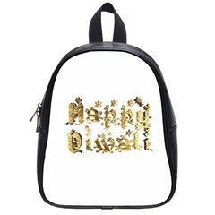 Happy Diwali Gold Golden Stars Star Festival Of Lights Deepavali Typography School Bag (small) by yoursparklingshop