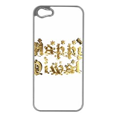 Happy Diwali Gold Golden Stars Star Festival Of Lights Deepavali Typography Apple Iphone 5 Case (silver) by yoursparklingshop