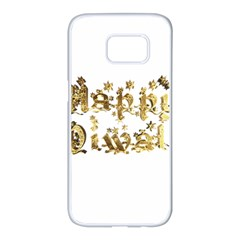 Happy Diwali Gold Golden Stars Star Festival Of Lights Deepavali Typography Samsung Galaxy S7 Edge White Seamless Case by yoursparklingshop