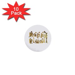 Happy Diwali Gold Golden Stars Star Festival Of Lights Deepavali Typography 1  Mini Buttons (10 Pack)  by yoursparklingshop