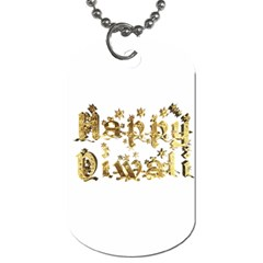 Happy Diwali Gold Golden Stars Star Festival Of Lights Deepavali Typography Dog Tag (two Sides) by yoursparklingshop