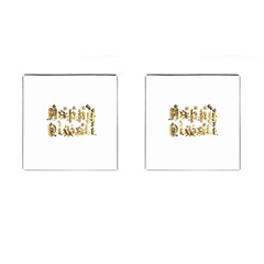 Happy Diwali Gold Golden Stars Star Festival Of Lights Deepavali Typography Cufflinks (square) by yoursparklingshop