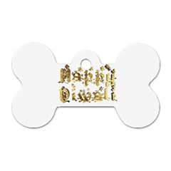 Happy Diwali Gold Golden Stars Star Festival Of Lights Deepavali Typography Dog Tag Bone (one Side) by yoursparklingshop