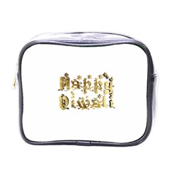 Happy Diwali Gold Golden Stars Star Festival Of Lights Deepavali Typography Mini Toiletries Bags by yoursparklingshop