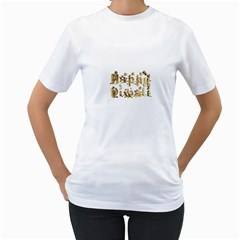 Happy Diwali Gold Golden Stars Star Festival Of Lights Deepavali Typography Women s T Shirt (white)  by yoursparklingshop