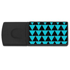 Triangle2 Black Marble & Turquoise Colored Pencil Rectangular Usb Flash Drive by trendistuff