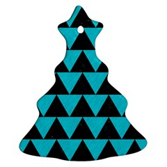 Triangle2 Black Marble & Turquoise Colored Pencil Christmas Tree Ornament (two Sides)