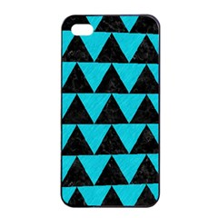Triangle2 Black Marble & Turquoise Colored Pencil Apple Iphone 4/4s Seamless Case (black) by trendistuff