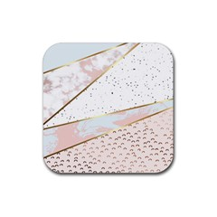 Collage,white Marble,gold,silver,black,white,hand Drawn, Modern,trendy,contemporary,pattern Rubber Square Coaster (4 Pack)  by 8fugoso