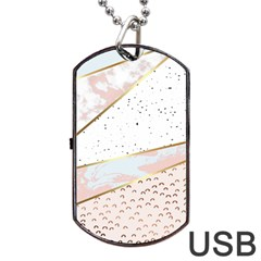Collage,white Marble,gold,silver,black,white,hand Drawn, Modern,trendy,contemporary,pattern Dog Tag Usb Flash (two Sides) by 8fugoso