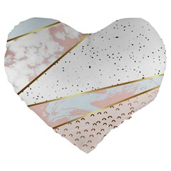 Collage,white Marble,gold,silver,black,white,hand Drawn, Modern,trendy,contemporary,pattern Large 19  Premium Flano Heart Shape Cushions by 8fugoso