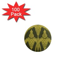 Art Nouveau Green 1  Mini Magnets (100 Pack)  by 8fugoso