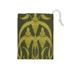 Art Nouveau Green Drawstring Pouches (medium)  by 8fugoso