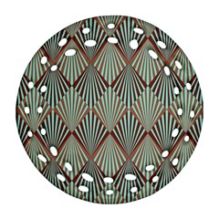 Art Deco Teal Brown Ornament (round Filigree) by 8fugoso